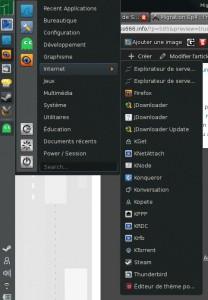 Le menu KDE, avec seulement la section Internet. Le reste est presque aussi fourni.